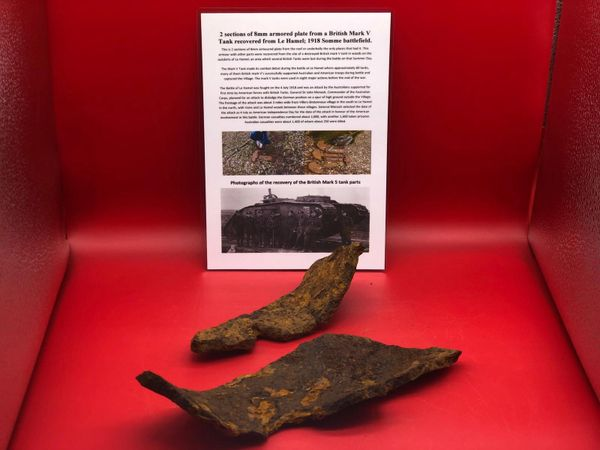 2 sections of 8mm armoured plate from the roof or underbelly of the tank recovered from British Mark 5 Tank destroyed during the Battle of Le Hamel on the 4th July 1918,Australian and American offensive