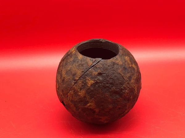 Very rare 1915 pattern British ball hand grenade near complete outer case recovered in 2015 from the British trench line near the village of Mametz on the Somme battlefield this area saw very heavy fighting during the battle on the 1st July 1916.