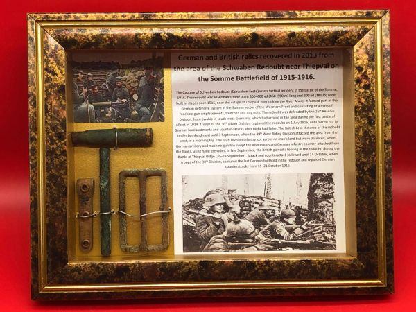 German and British glass framed relics recovered in 2013 from the area of Schwaben Redoubt near Thiepval on the Somme battlefield of July 1916