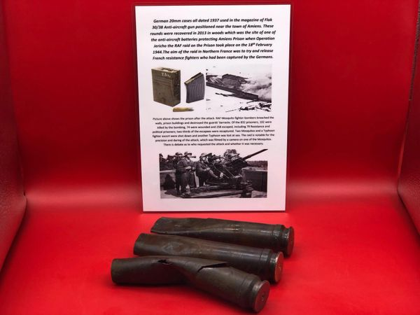 Trio of German 20mm brass cases fired by flak 30/38 ant aircraft gun recovered in 2013 in woods the site of a anti-aircraft gun batterie protecting Amiens Prison when Operation Jericho the RAF raid on the Prison took place on the 18th February 1944.
