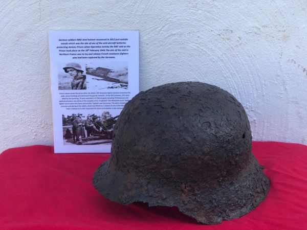 German soldiers M42 steel helmet, solid relic condition recovered in 2013 just outside woods which was the site of one of the anti-aircraft batteries protecting Amiens Prison when Operation Jericho took place on the 18th February 1944.