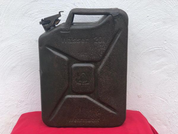 Very rare German water can [Wasser] the famous Jerry can maker marked dated 1943 with original green paintwork used by the 116th Panzer Division recovered from near Houffalize in the Ardennes forest from battle of the bulge winter 1944-1945