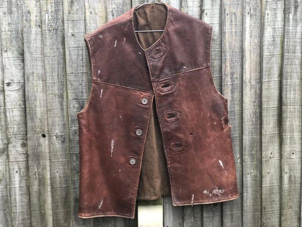 British soldiers leather jerkin which is damaged but pretty much complete found on a Brocante in the town of Abbeville in Northern France from the battlefield of 1944