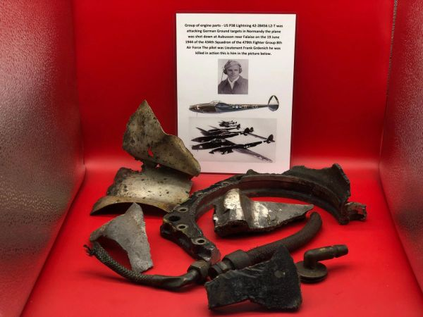 Group of Engine parts very well cleaned lots of original colour from the supercharged Allision V-12 engine on US P38 Lightning 42-28456 shot down 19th June 1944 over Normandy
