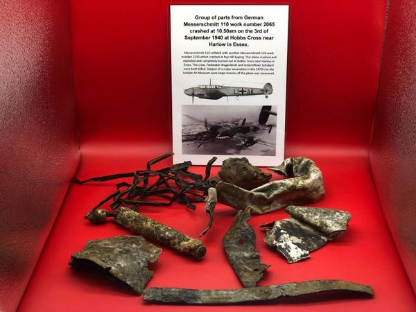 Group of airframe and engine parts with some original paintwork and colour from German Messerschmitt 110 work number 2065 crashed at 10.50am on the 3rd of September 1940 at Hobbs Cross near Harlow in Essex