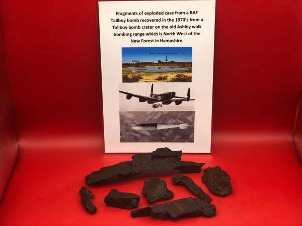 Rare fragments of exploded case from a RAF Tallboy bomb recovered in the 1970's from a Tallboy bomb crater on the old Ashley walk bombing range which is North West of the New Forest in Hampshire