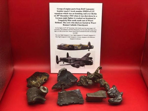 7 Sections of mag allow engine case with black paint remains, fire melted one with part number from RAF Lancaster bomber mark 2 work number DS834 was shot down 30th December 1943 on a raid on Berlin it crashed in Holland