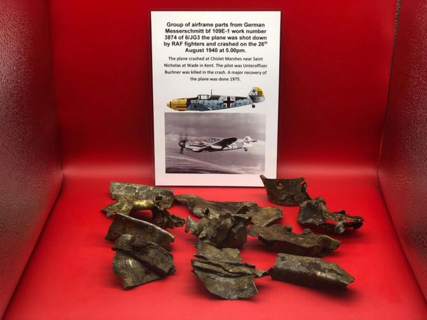 Group of airframe parts with paintwork remains from German Messerschmitt 109 number 3874 shot down on the 15th September 1940 it crashed Chislet Marshes near Saint Nicholas at Wade in Kent