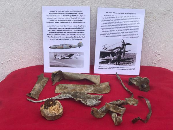 Large group of airframe and engine parts with original colours and paintwork remains from German Messerschmitt bf 109E-4 piloted by Staffel Kapitan Leutnant Horst Marx shot down 15th August 1940 and crashed at Frant in Sussex