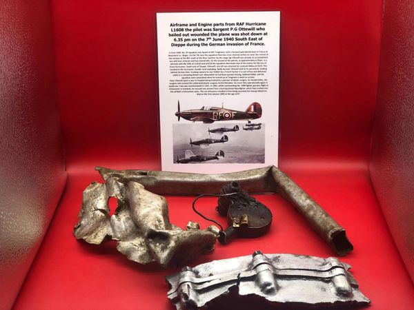 Large group of lovely clean airframe and engine parts with lots of original colour from RAF Hurricane L1608 shot down on the 7th June 1940 near Dieppe during the battle of France