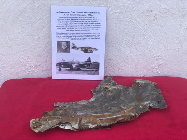 Very large airframe panel with green and brown camouflage paintwork remains nice clean panel from German Messerschmitt 262 jet plane work number 37064 damaged by allied fighters and crashed in Bassum south of Bremen on the 6th November 1944