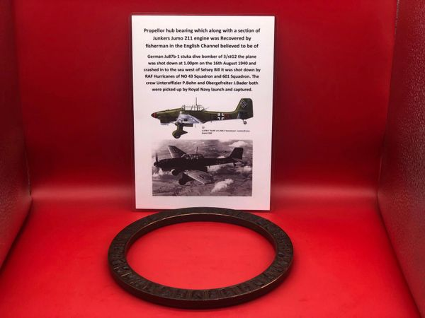 Engine bearing nice condition, original colours believed to be from German Junkers JU87 Stuka dive bomber of 3/STG2 shot down on the 16th August 1940 and crashed in the sea of Selsey Bill during the Battle of Britain