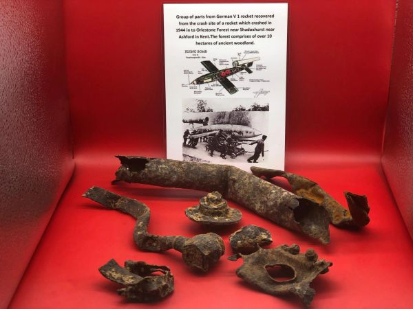 Rare find which are Group of 7 airframe and structure parts from German V1 rocket which crashed in 1944 in to Orlestone Forest near Shadoxhurst in kent