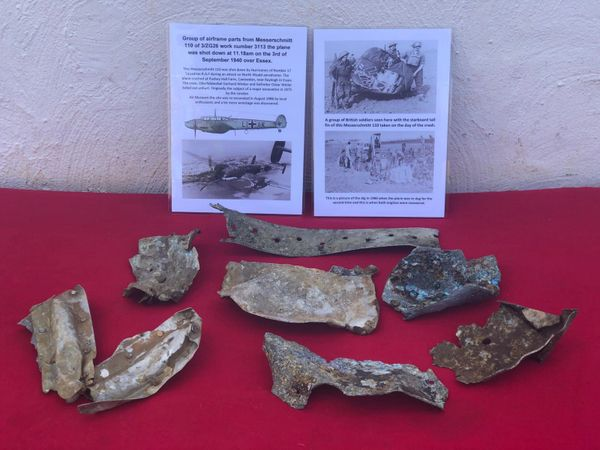 7 large aluminium airframe sections with black and gray paintwork remains and lots of original colour from German Messerschmitt 110 of 3/ZG26 work number 3113 shot down on the 3rd of September 1940 crashed at Canewdon in Essex.