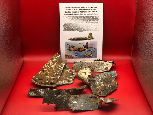 Large group of airframe panels with original gray-blue and black paintwork remains from American B26 Marauder number 42-96263 shot down on D-Day 6th June 1944 it crashed at Gillingham in Kent