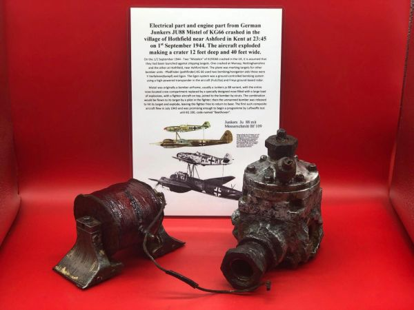 Large engine part with maker marks and electrical part both very well cleaned from German Junkers JU88 Mistel from KG66 shot down on the 1st September 1944 crashed at Hothfield near Ashford, Kent