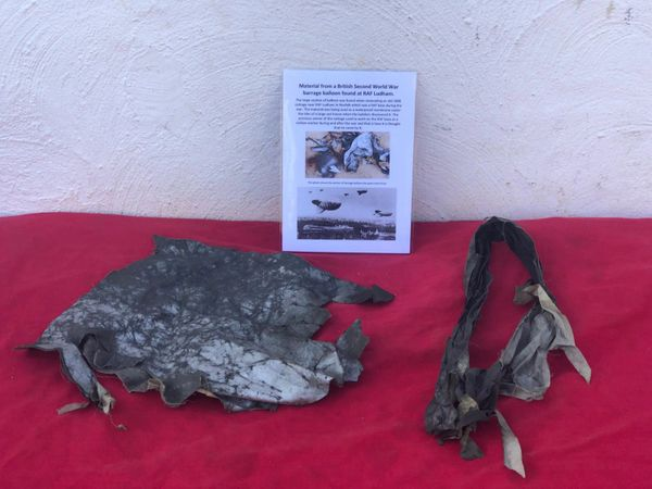 Very rare two sections of fabric from British world war 2 barrage balloon recovered from a House near RAF Ludham in Norfolk