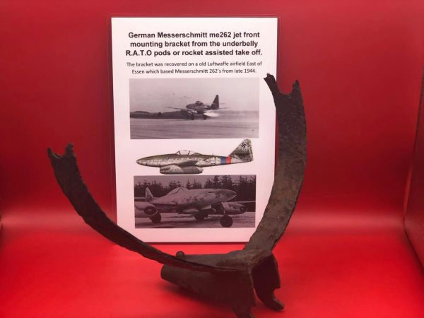 Very rare front bracket from the underbelly R.A.T.O pods or rocket assisted take off it has original gray paintwork from German Messerschmitt me262 jet recovered on an old Luftwaffe airfield East of Essen