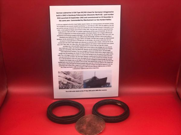 German gas mask eye peace's with one cover that is maker marked dated 1938 recovered from U-Boat U534 which was sunk on the 5th May 1945 by RAF Bombers