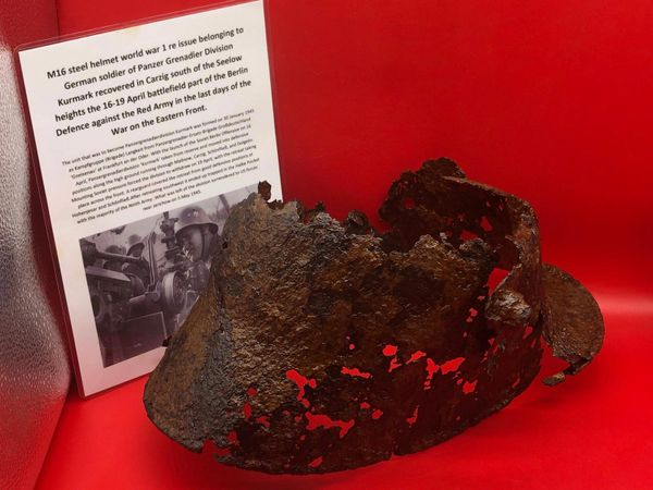 German M16 steel helmet world war 1 re issue used by soldier of Panzer Grenadier Division Kurmark, very relic condition recovered in Carzig south of the Seelow heights the 16-19 April 1945 battlefield