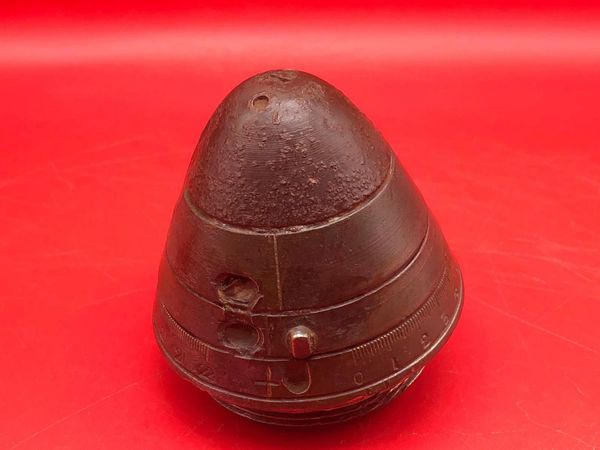 British 13 pounder shrapnel shell head fantastic condition original colour with shrapnel balls attached recovered from the Dernancourt area the March 1918 battle on the Somme