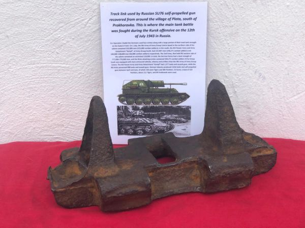 Complete track link nice solid condition used by Russian SU76 self-propelled artillery gun recovered from Plota, near Prokhorovka on the battlefield at Kursk in Russia