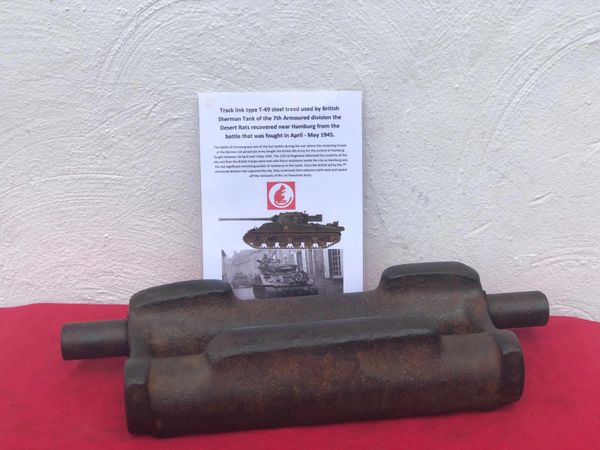 Steel track link T-49 steel tread type, nice condition relic used by British Sherman Tank of the 7th Armoured division the desert rats recovered near Hamburg from the battle that was fought in April-May 1945.