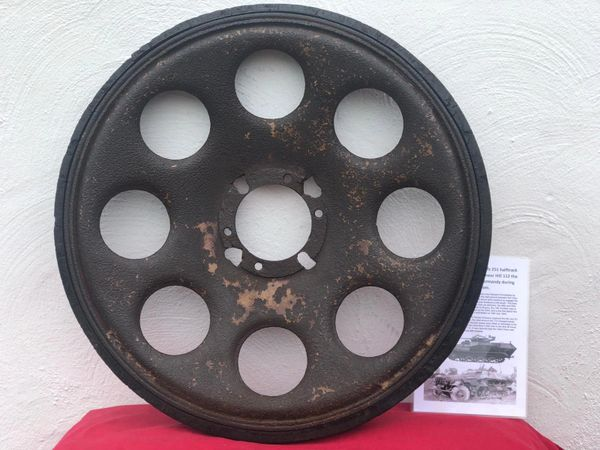 German sdkfz 251 half track rear track wheel, nice relic condition relic with some original sand colour paintwork with its tyre maker marked recovered from Death Valley near Hill 112 the battle during operation Epsom in June 1944, Normandy battlefield