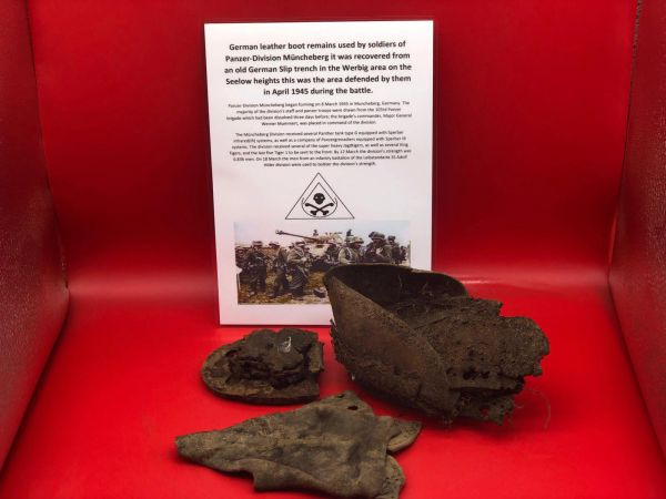 German soldiers leather boot remains nice relics used by soldiers of Panzer Division Muncheberg recovered from an old German Slip trench in the Werbig area on the Seelow heights this was the area defended by them during the April 1945 battlefield