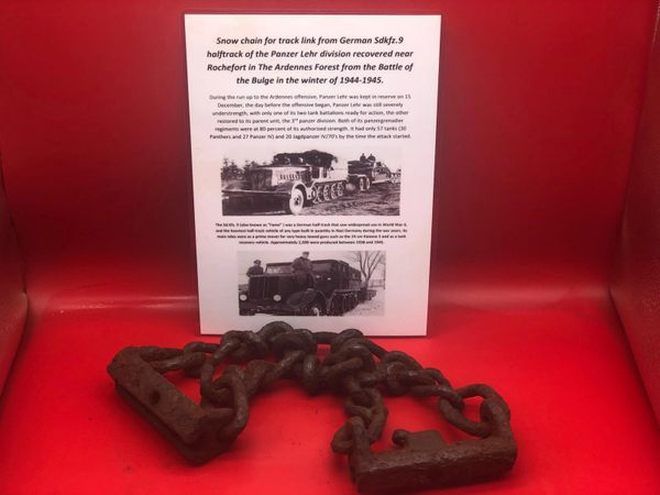Snow chain for track link from German sdkfz 9 halftrack recovered near Rochefort which was a village attacked by the Panzer Lehr division on the 23rd December 1944,The Ardennes