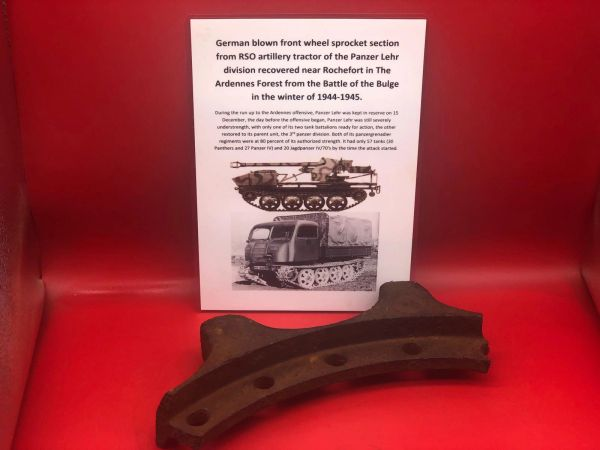German blown large section of front wheel sprocket from RSO artillery tractor recovered near Rochefort which was a village attacked by the Panzer Lehr division on the 23rd December 1944,The Ardennes