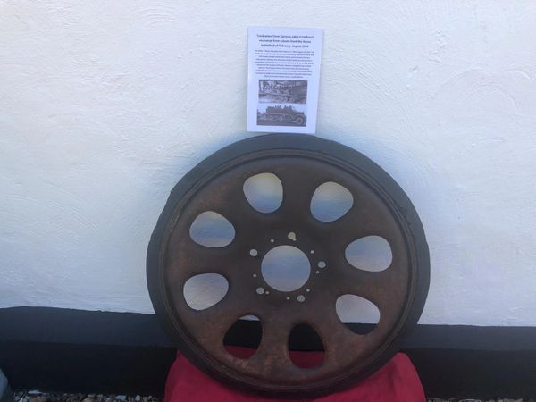 Track wheel from German sdkfz 6 halftrack, nice relic condition well cleaned some original paintwork recovered in Estonia from the Narva battlefield of February- August 1944 and there were SS and Wehrmacht units involved in the fighting