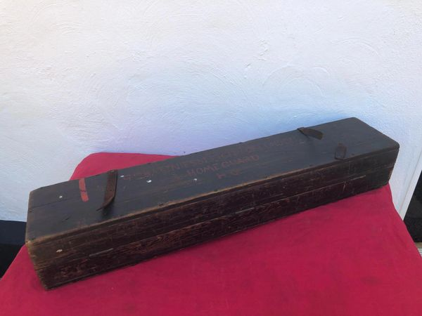 Very rare British Home guard 9th Battalion [ESSEX] CITY OF LONDON HQ wooden storage crate with all black paintwork and red markings lovely condition found in private collection in Essex