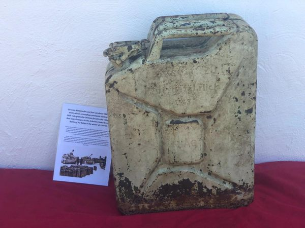 Rare German Wehrmacht fuel can dated 1943 with white winter camouflage paintwork nice relic condition recovered in Bras a village just outside Bastogne in the Ardennes forest from the battle of the Bulge 1944-1945
