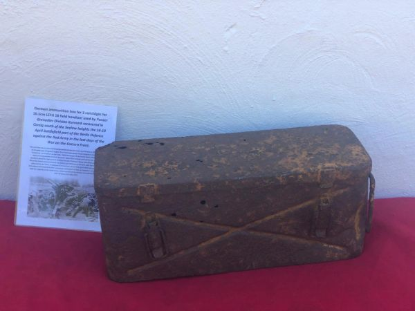 German metal ammunition box for the 10.5CM LEFH 18 field howitzer which held 3 cartridges, relic condition used by Panzer grenadier division Kurmark recovered in Carzig south of the Seelow heights the 16-19 April 1945 battlefield