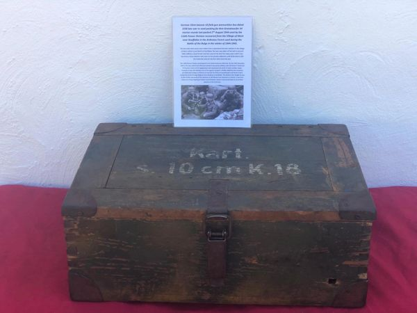 Rare German green camouflage wooden crate Sonderkart 10.5CM LEFH 18 field howitzer ammunition box re used packing for 8cm Granatwerfer 34 mortar rounds used by 116th Panzer Division found near Houffalize in the Ardennes forest 1944-1945 battle