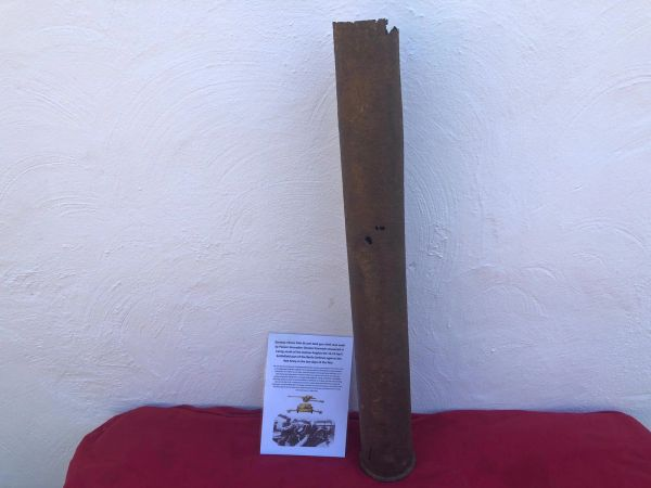 German 75mm PAK 40 anti tank gun steel shell case,nice relic recovered in Carzig south of the Seelow Heights the area defended by Panzer grenadier division Kurmark in April 1945 during the battle on the Heights
