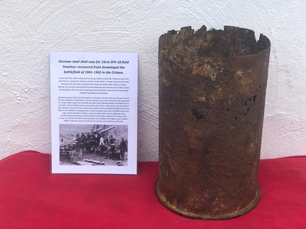 German steel shell case for 15cm SFH 18 field howitzer, nice solid relic recovered in Sevastopol the battlefield of the Crimea 1941-1942 in Russia
