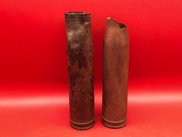 2x Russian 23mm Volkov-Yartsev VYa-23 aircraft cannon brass cases used by Ilyushin Il-2 ground attack aircraft one is dated 1943,maker marked recovered near district of Pankow in North Berlin captured by them on 23rd April 1945 during the Battle