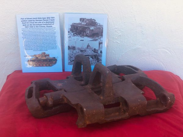Rare pair of very early war German track link type 3 [A] 1941 pattern with maker markings used by Panzer 3 Tank recovered from Sevastopol the battlefield of the Crimea in 1942,Russia