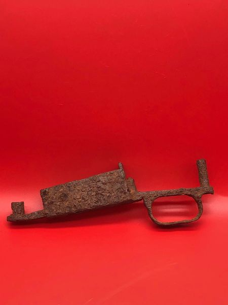 K98 rifle trigger section used by a soldier of the 9th army recovered from near a lake south of Berlin in the area where the fought and surrendered to the Russians during the battle of the Berlin 1945