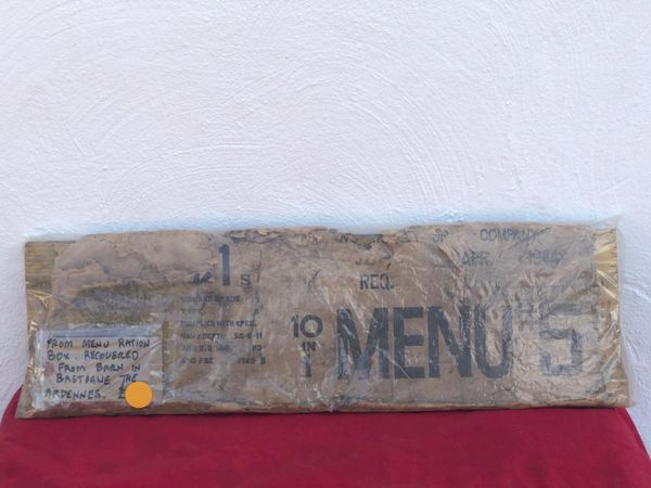 Rare to find American cardboard ration crate end which is maker marked dated 1944 recovered in an old barn on farm yard around Bastogne from the Siege in the battle of the Bulge 1944
