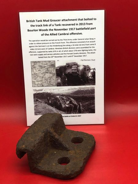 Very rare British tank mud groucer connector attachment bracket that bolted to a track link recovered from Bourlon Woods the November 1917 battle part of the Allied Cambrai offensive