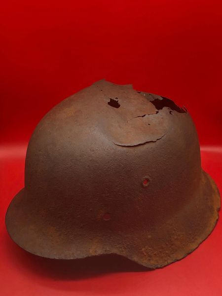 German soldiers M42 helmet with some green paint remains, leather liner remains recovered from near the village of Plota which is south Prokhorovka ware the main tank battle was on the 12th July 1943,Russia
