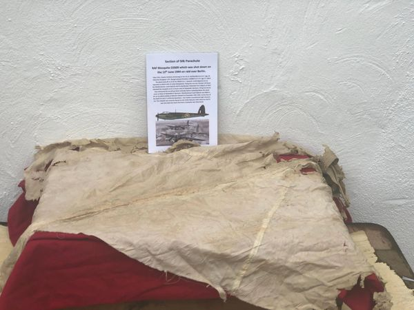 Section of parachute silk from crewman's chute from RAF Mosquito DZ609 on a night raid over Berlin shot down on the 12th June 1944 crashed in Germany