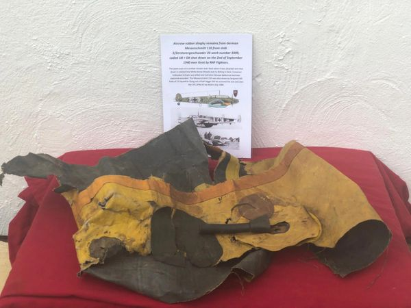 Large section of aircrew rubber dinghy remains with air inflation pipe from German Messerschmitt 110 work number 3309 shot down 2nd of September 1940,crashed Birling in Kent