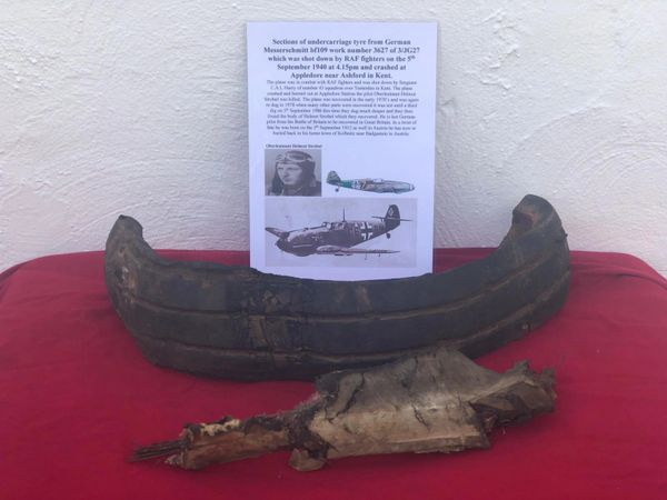 Large sections of rubber undercarriage tyre from German Messerschmitt bf109 work number 3627 of 3/JG27 which was shot down by RAF fighters on the 5th September 1940 at 4.15pm and crashed at Appledore near Ashford in Kent.
