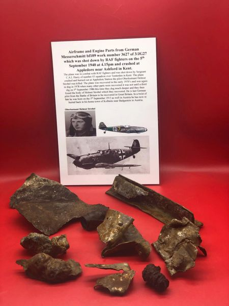 Group of airframe and Engine parts from German Messerschmitt bf109 work number 3627 of 3/JG27 which was shot down by RAF fighters on the 5th September 1940 at 4.15pm and crashed at Appledore near Ashford in Kent.