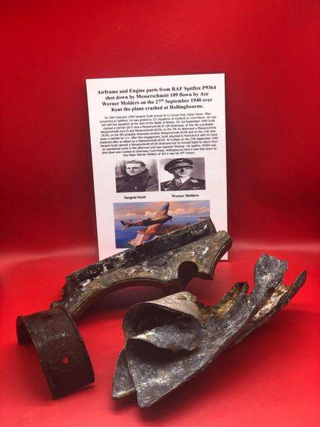 Large aireframe panel, Engine case section recognisable, bearing cap from piston conrod, nice clean relics, original colours from RAF Spitfire P9364 shot down by Messerschmitt 109 flown by Ace Werner Molders, 27th September 1940 crashed at Hollingbourne