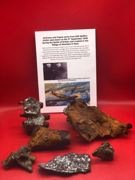 Group airframe of engine parts well cleaned relics from RAF Spitfire X4261 shot down on the 5th September 1940 and crashed at Smarden near Ashford in Kent